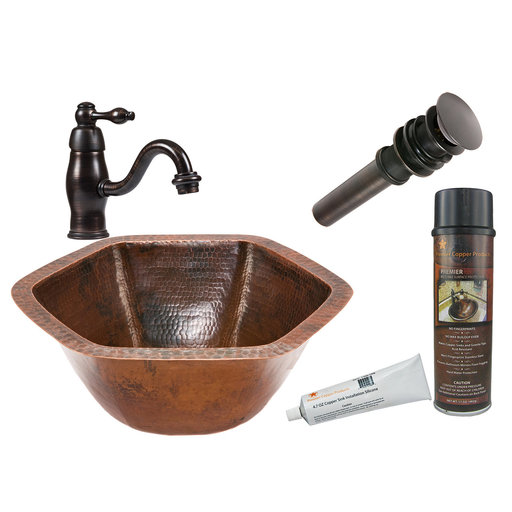 View a Larger Image of Hexagon Under Counter Hammered Copper Sink, Faucet and Accessories Package, Oil Rubbed Bronze