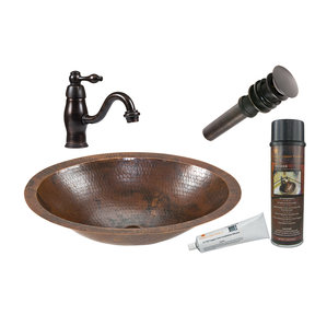Small Oval Under Counter Hammered Copper Sink, Faucet and Accessories Package, Oil Rubbed Bronze