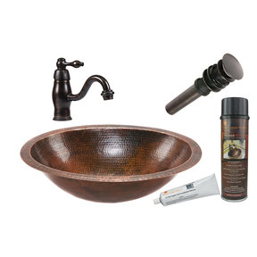 Oval Under Counter Hammered Copper Bathroom Sink, Faucet and Accessories Package, Oil Rubbed Bronze