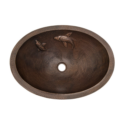 View a Larger Image of Oval Under Counter Hammered Copper Koi Bathroom Sink, Faucet and Accessories Package, Oil Rubbed Bronze