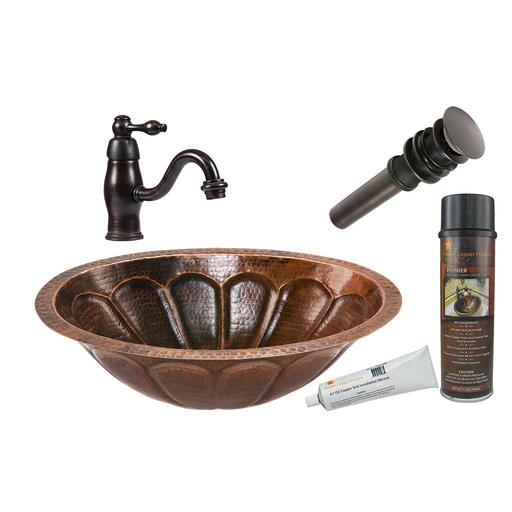 View a Larger Image of Oval Sunbrst Under Counter Hammered Copper Sink, Faucet and Accessories Package, Oil Rubbed Bronze