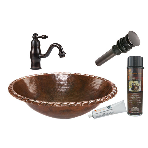 View a Larger Image of Oval Roped Rim Self Rimming Hammered Copper Sink, Faucet and Accessories Package, Oil Rubbed Bronze