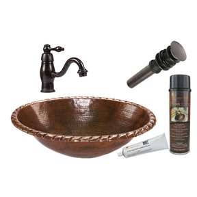 Oval Roped Rim Self Rimming Hammered Copper Sink, Faucet and Accessories Package, Oil Rubbed Bronze