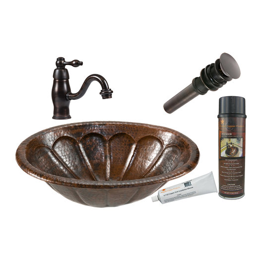 View a Larger Image of Oval Sunburst Self Rimming Hammered Copper Sink, Faucet and Accessories Package, Oil Rubbed Bronze