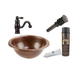 Small Round Self Rimming Hammered Copper Sink, Faucet and Accessories Package, Oil Rubbed Bronze