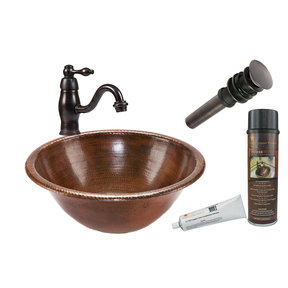 Round Self Rimming Hammered Copper Bathroom Sink, Faucet and Accessories Package, Oil Rubbed Bronze