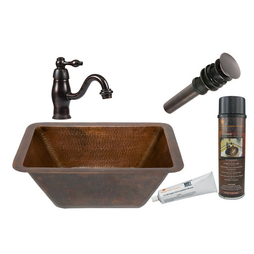 View a Larger Image of Rectangular Hammered Copper Bathroom Sink, Faucet and Accessories Package, Oil Rubbed Bronze