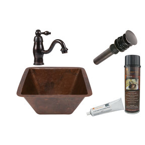 Square Under Counter Hammered Copper Bathroom Sink, Faucet and Accessories Package, Oil Rubbed Bronze