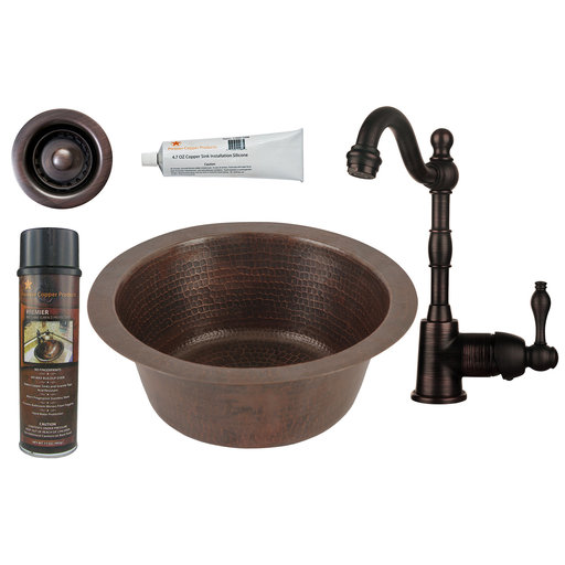 View a Larger Image of 12 inch Round Hammered Copper Bar Sink with 2 inch Drain Size, Faucet and Accessories Package, Oil Rubbed Bronze