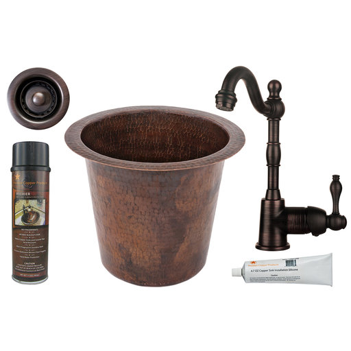 View a Larger Image of 12 inch Round Champagne Hammered Copper Bar/Prep Sink, Faucet and Accessories Package, Oil Rubbed Bronze