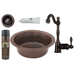 14 inch Round Hammered Copper Bar Sink with 2 inch Drain Size, Faucet and Accessories Package, Oil Rubbed Bronze
