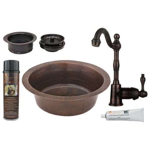 View a Larger Image of 14 inch Round Hammered Copper Prep Sink with 3.5 inch Drain Size, Faucet and Accessories Package, Oil Rubbed Bronze