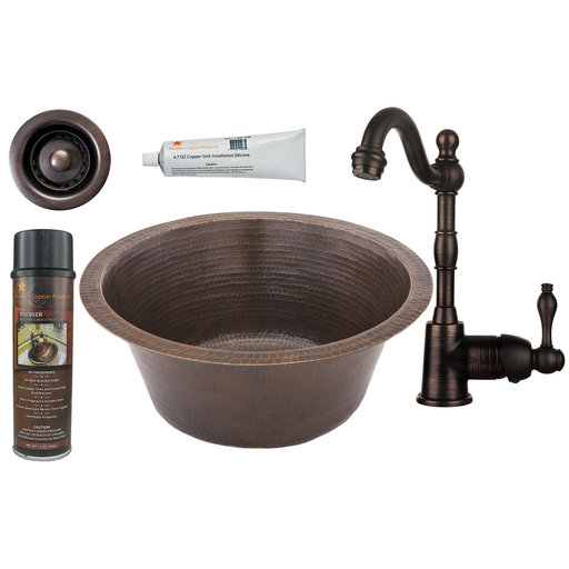View a Larger Image of 16 inch Round Hammered Copper Bar Sink with 2 inch Drain Size, Faucet and Accessories Package, Oil Rubbed Bronze