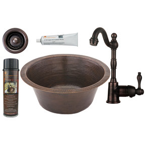 16 inch Round Hammered Copper Bar Sink with 2 inch Drain Size, Faucet and Accessories Package, Oil Rubbed Bronze