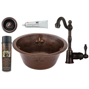 16 inch Round Copper Fleur De Lis Bar Sink with 2 inch Drain Size, Faucet and Accessories Package, Oil Rubbed Bronze