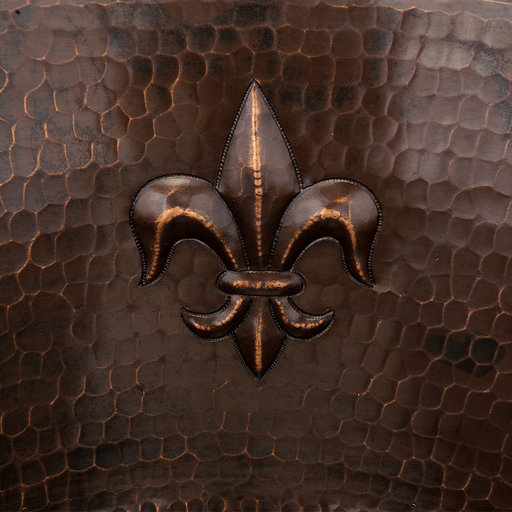 View a Larger Image of 16 inch Round Copper Fleur De Lis Bar Sink with 2 inch Drain Size, Faucet and Accessories Package, Oil Rubbed Bronze