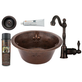 16 inch Round Copper Fleur De Lis Prep Sink with 3.5 inch Drain Size, Faucet and Accessories Package, Oil Rubbed Bronze