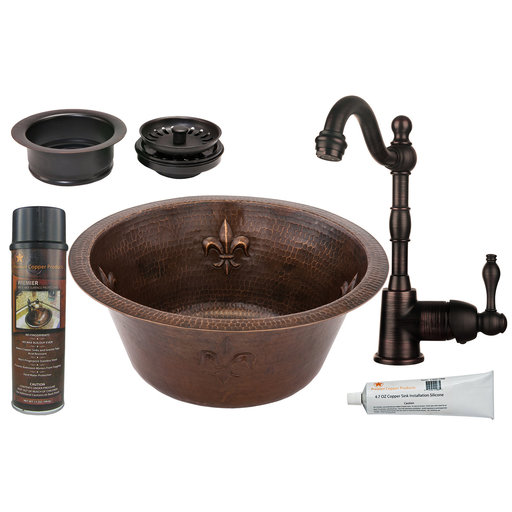 View a Larger Image of 16 inch Round Copper Fleur De Lis Prep Sink with 3.5 inch Drain Size, Faucet and Accessories Package, Oil Rubbed Bronze