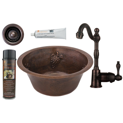 View a Larger Image of 16 inch Round Copper Grapes Bar Sink with 2 inch Drain Size, Faucet and Accessories Package, Oil Rubbed Bronze