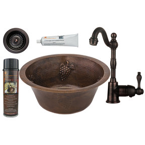 16 inch Round Copper Grapes Prep Sink with 3.5 inch Drain Size, Faucet and Accessories Package, Oil Rubbed Bronze