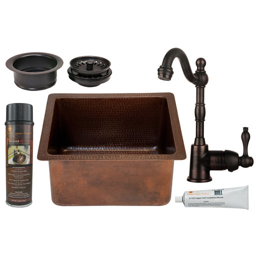 View a Larger Image of 16 inch Gourmet Rectangular Hammered Copper Bar/Prep Sink, Faucet and Accessories Package, Oil Rubbed Bronze