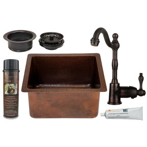 16 inch Gourmet Rectangular Hammered Copper Bar/Prep Sink, Faucet and Accessories Package, Oil Rubbed Bronze
