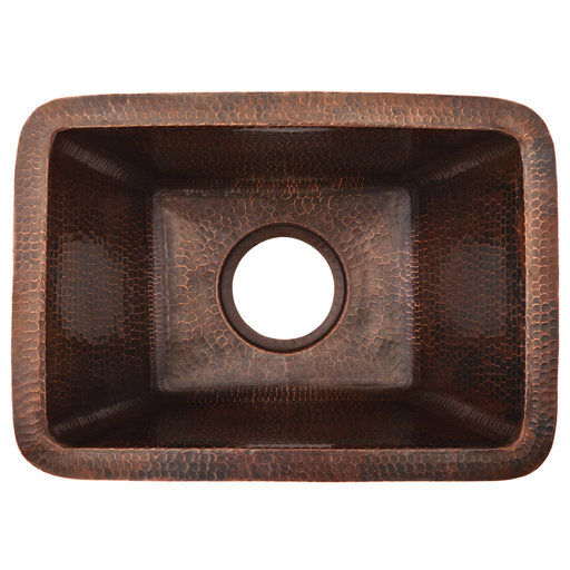 View a Larger Image of 16 inch Gourmet Rectangular Hammered Copper Barrel Strap Bar/Prep Sink, Faucet and Accessories Package, Oil Rubbed Bronz