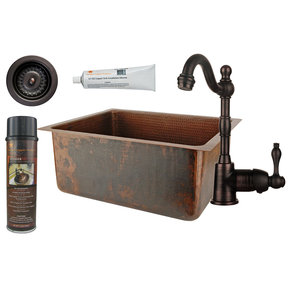 20 inch Hammered Copper Kitchen/Bar/Prep Single Basin Sink, Faucet and Accessories Package, Oil Rubbed Bronze