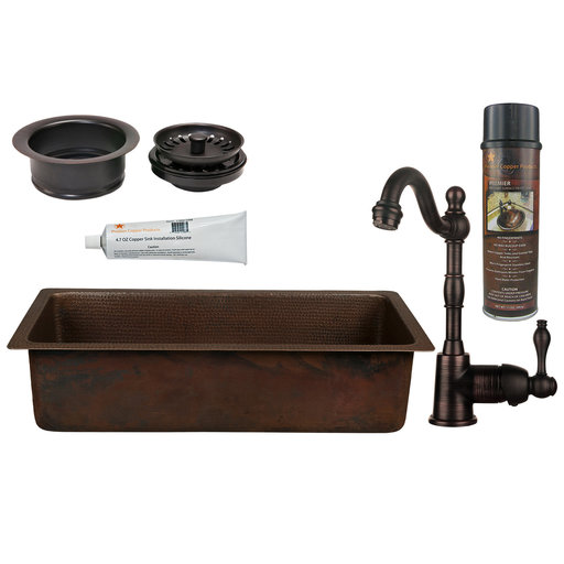 View a Larger Image of 28 inch Rectangle Hammered Copper Bar/Prep Sink with 3.5 inch Drain Opening, Faucet and Accessories Package, Oil Rubbed