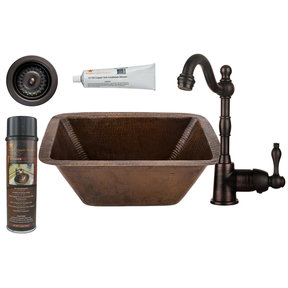 Rectangle Copper Prep Sink with 3.5 inch Drain Size, Faucet and Accessories Package, Oil Rubbed Bronze