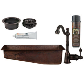 28 inch Rectangle Hammered Copper Slanted Bar/Prep Sink with 3.5 inch Drain Opening, Faucet and Accessories Package, Oil