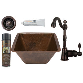 15 inch Square Hammered Copper Bar/Prep Sink with 2 inch Drain Size, Faucet and Accessories Package, Oil Rubbed Bronze