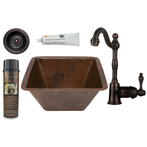 View a Larger Image of 15 inch Square Hammered Copper Bar/Prep Sink with 3.5 inch Drain Size, Faucet and Accessories Package, Oil Rubbed Bronze