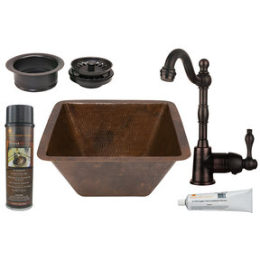 15 inch Square Hammered Copper Bar/Prep Sink with 3.5 inch Drain Size, Faucet and Accessories Package, Oil Rubbed Bronze