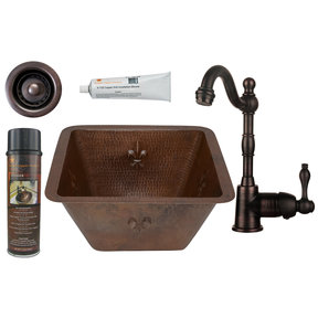 15 inch Square Fleur De Lis Copper Bar/Prep Sink with 2 inch Drain Size, Faucet and Accessories Package, Oil Rubbed Bron
