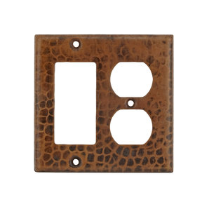 Combination 2-Hole Outlet and Ground Fault / Rocker GFI Switchplate Cover