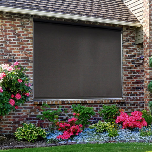 View a Larger Image of Premier Cordless Outdoor Sun Shade with Protective Valance, 8' W x 8' L, Mahogany