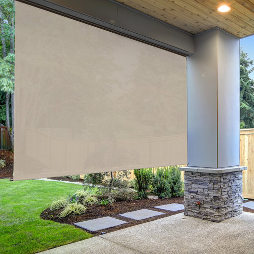 View a Larger Image of Premier Cordless Outdoor Sun Shade with Protective Valance, 8' W x 8' L, Maple