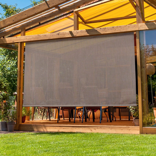 View a Larger Image of Premier Cordless Outdoor Sun Shade with Protective Valance, 8' W x 8' L, Sandstone