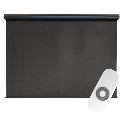 View a Larger Image of Premier Rechargeable Motorized Outdoor Sun Shade with Protective Valance, 4' W x 8' L, Mahogany