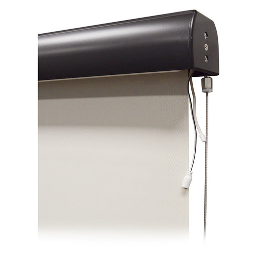 View a Larger Image of Premier Rechargeable Motorized Outdoor Sun Shade with Protective Valance, 4' W x 8' L, Palm