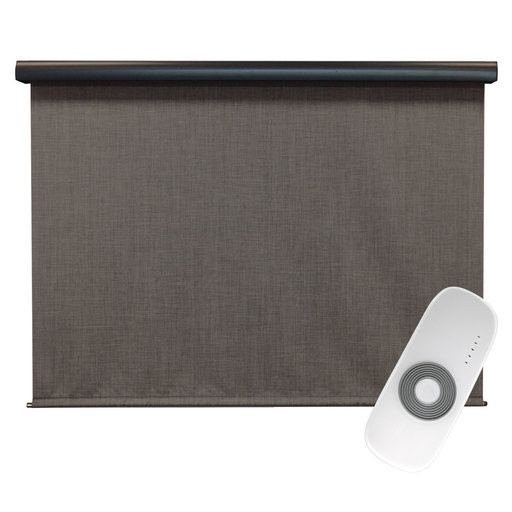 View a Larger Image of Premier Rechargeable Motorized Outdoor Sun Shade with Protective Valance, 4' W x 8' L, Pepper