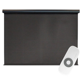 Premier Rechargeable Motorized Outdoor Sun Shade with Protective Valance, 7' W x 8' L, Mahogany