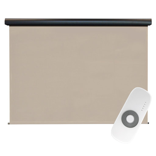 View a Larger Image of Premier Rechargeable Motorized Outdoor Sun Shade with Protective Valance, 7' W x 8' L, Maple