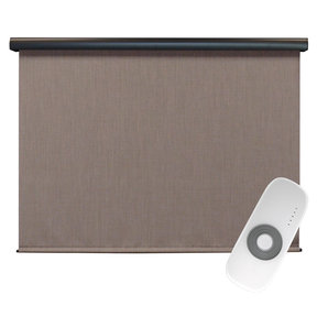 Premier Rechargeable Motorized Outdoor Sun Shade with Protective Valance, 7' W x 8' L, Sandstone