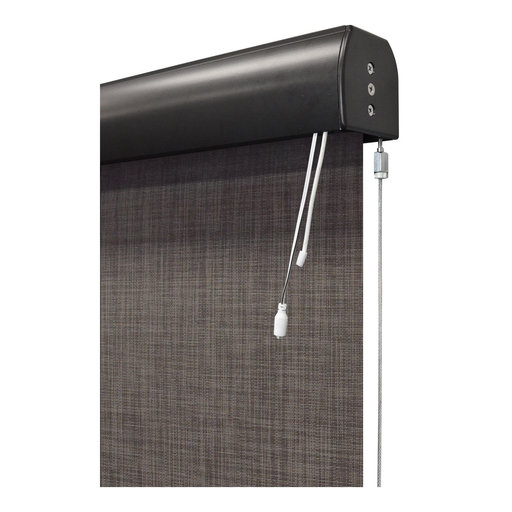 View a Larger Image of Premier Rechargeable Motorized Outdoor Sun Shade with Protective Valance, 8' W x 8' L, Pepper