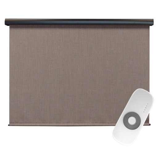 View a Larger Image of Premier Rechargeable Motorized Outdoor Sun Shade with Protective Valance, 8' W x 8' L, Sandstone