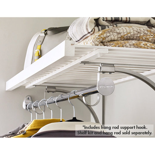 View a Larger Image of Premium Wood Shelf Hang Rod Support, Satin Nickel