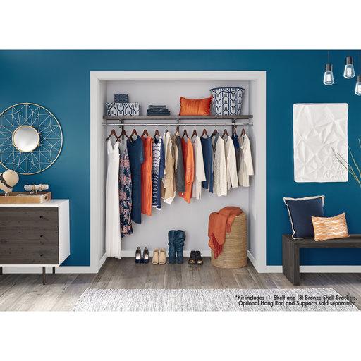 "View a Larger Image of Premium Wood Shelf Kit 72"" W x 16"" D, Espresso"