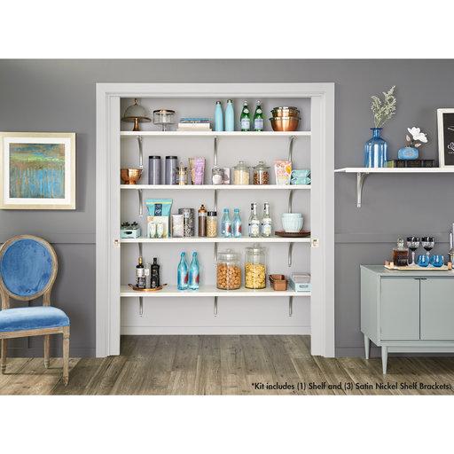 "View a Larger Image of Premium Wood Shelf Kit 72"" W x 16"" D, White"